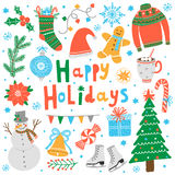 Vector happy holidays card. Isolated on white Royalty Free Stock Photo