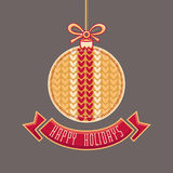 Vector. Happy Holidays Greeting Card in ball form Stock Photography