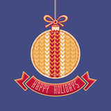 Vector. Happy Holidays Greeting Card in ball form Royalty Free Stock Photos