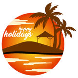 Vector happy holidays. Vector image happy holidays with background beach Royalty Free Stock Photos