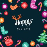 Vector Happy Holidays lettering design with festive New Year elements. Christmas typography for greeting card template. Vector Happy Holidays lettering design Stock Photo