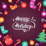 Vector Happy Holidays lettering design with festive New Year elements. Christmas typography for greeting card template. Vector Happy Holidays lettering design Royalty Free Stock Images