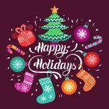 Vector Happy Holidays lettering design with festive New Year elements. Christmas typography for greeting card template. Vector Happy Holidays lettering design Royalty Free Stock Image
