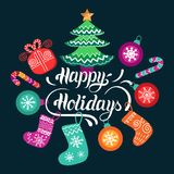 Vector Happy Holidays lettering design with festive New Year elements. Christmas typography for greeting card template. Vector Happy Holidays lettering design Stock Image