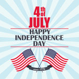 Vector Happy Independence Day background with USA flag, ribbon and lettering. Template for Independence Day. Stock Photography
