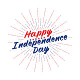 Vector Happy Independence Day text lettering for greeting card, flyer, poster logo with stars, light rays or fireworks. Stock Images