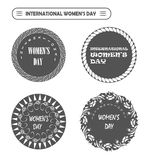 Vector Happy international Women's Day labels for site, card, stamp Stock Photos