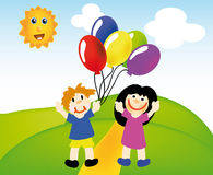 Vector happy kids with balloons Royalty Free Stock Images