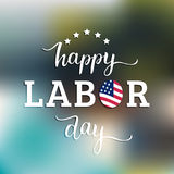 Vector Happy Labor Day card. National american holiday illustration. With USA flag. Festive poster or banner with hand lettering Stock Photos