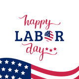 Vector Happy Labor Day card. National american holiday illustration. Vector Happy Labor Day card. National american holiday illustration with USA flag. Festive Stock Images