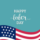 Vector Happy Labor Day card. National american holiday illustration with USA flag.. Festive poster or banner with hand lettering Royalty Free Stock Photo