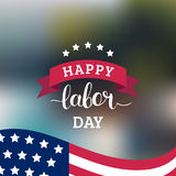 Vector Happy Labor Day card. National american holiday illustration. With USA flag. Festive poster or banner with hand lettering Royalty Free Stock Photography