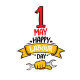 Vector happy labour day poster. 1 may - labour day. vector happy labour day poster or workers day banner Royalty Free Stock Image