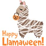 Vector Happy Llamaween Llama Mummy Costume Illustration stock photo