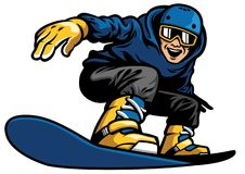 Happy man playing snowboard. Vector of happy man playing snowboard Stock Photo