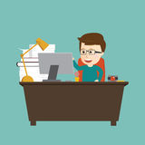 Vector of happy man working on workstation desk. Royalty Free Stock Image