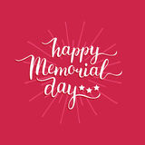 Vector Happy Memorial Day card.National american holiday illustration with rays,stars.Festive poster with hand lettering. Vector Happy Memorial Day card Royalty Free Stock Photo