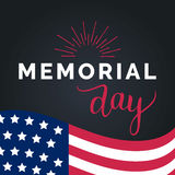 Vector Happy Memorial Day card. National american holiday illustration with USA flag.Festive poster with hand lettering. Vector Happy Memorial Day card Stock Photography