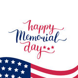 Vector Happy Memorial Day card. National american holiday illustration with USA flag.Festive poster with hand lettering. Stock Photography