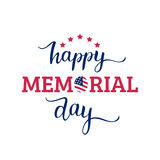 Vector Happy Memorial Day card. National american holiday illustration with USA flag.Festive poster with hand lettering. Vector Happy Memorial Day card Royalty Free Stock Image