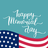 Vector Happy Memorial Day card. National american holiday illustration with USA flag.Festive poster with hand lettering. Vector Happy Memorial Day card Royalty Free Stock Photo
