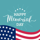 Vector Happy Memorial Day card. National american holiday illustration with USA flag.Festive poster with hand lettering. Vector Happy Memorial Day card Royalty Free Stock Images