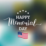 Vector Happy Memorial Day card. National american holiday illustration with USA flag.Festive poster with hand lettering. Vector Happy Memorial Day card Stock Image