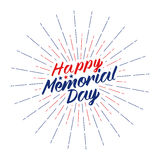 Vector Happy Memorial Day text lettering for greeting card, flyer, poster logo with stars, light rays or fireworks. Stock Photo
