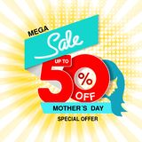Vector Happy Mother`s Day. Big sale banner. Mega sale, up to 50 off. Red blue special offer. Template design with silhouette of. Mother on yellow striped vector illustration