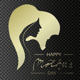 Vector Happy Mother`s Day. Golden greeting card with woman silhouette and baby silhouette in the heart. Decoration text. Love des. Ign on transparent background vector illustration
