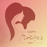 Vector Happy Mother`s Day. Greeting card with woman silhouette and baby silhouette in the heart. Decoration text and dotted desig. N. - illustration vector illustration
