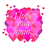 Vector Happy Mother's Day text with heart in red and purple colo Stock Image