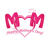 Vector Happy Mother's Day text with heart in red and purple colo Royalty Free Stock Photo