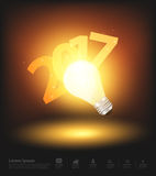 Vector happy new 2017 business year. Happy new 2017 business year, with light bulb and number 2017, Vector illustration Stock Images