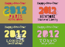 Vector happy new year 2012 paris NY london tokyo Stock Images