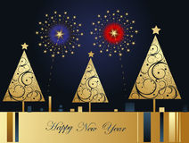 Vector Happy New Year background. With fireworks Royalty Free Stock Photo