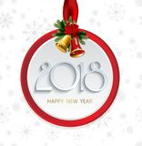 Vector 2018 Happy New Year background with christmas bells and snowflakes. Vector 2018 Happy New Year background with christmas bells vector illustration