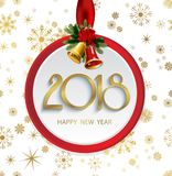Vector 2018 Happy New Year background with christmas bells and snowflakes. Vector 2018 Happy New Year background with christmas bells Royalty Free Stock Photo