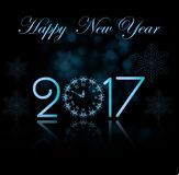 Vector 2017 Happy New Year background with clock Royalty Free Stock Photo
