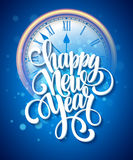 Vector 2016 Happy New Year background with clock Royalty Free Stock Photo