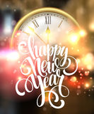Vector 2016 Happy New Year background with clock Stock Photo