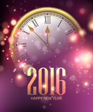 Vector 2016 Happy New Year background with clock Royalty Free Stock Image