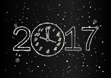 Vector 2017 Happy New Year background with clock and snow. Vector 2017 Happy New Year black background with clock and snow Stock Photos