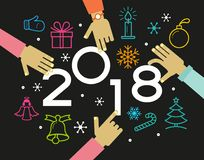 Vector 2018 Happy New Year background. Vector Happy New Year background. Color design with numeral 2018.  The file is saved in the version 10 EPS. This image Stock Photos