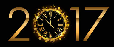 Vector 2017 Happy New Year background. With gold clock Stock Photo