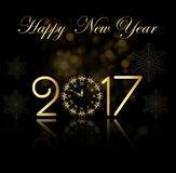 Vector 2017 Happy New Year background with gold clock. Gold Royalty Free Stock Photos