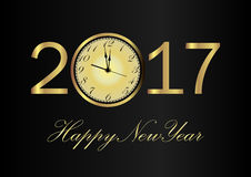 Vector 2017 Happy New Year background with gold clock. Vector 2017 Happy New Year black background with gold clock Stock Photography