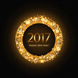 Vector 2017 Happy New Year background with gold clock. Vector 2017 Happy New Year background with golden clock Royalty Free Stock Photos