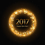 Vector 2017 Happy New Year background with gold clock. Vector 2017 Happy New Year background with golden clock Royalty Free Stock Photo