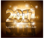 Vector 2017 Happy New Year background with gold clock. Vector 2017 Happy New Year background with golden clock Royalty Free Stock Photography